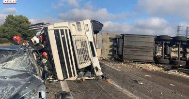 Muere un camionero tras colisionar con un coche en la autopista