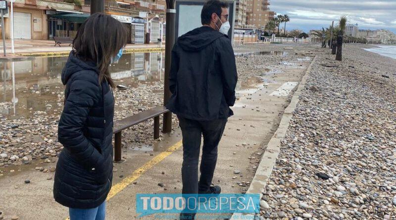 Oropesa pide la actuación de Costas ante los daños de la borrasca Filomena